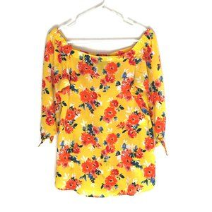 Chenault Top Off-Shoulder Yellow Floral 3/4 Sleeve